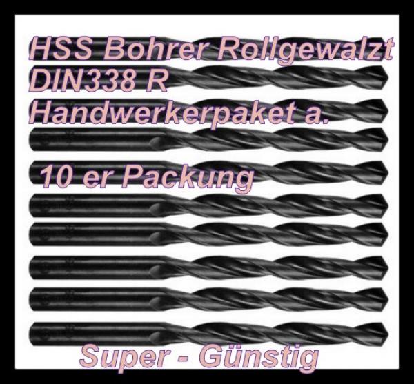 10er Pack HSS Bohrer Spiralbohrer Eisenbohrer DIn338 rollg. Super günstig